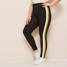 Plus Contrast Taped Side Leggings