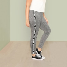 Plus Letter Print Side Marled Leggings