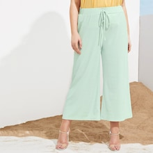 Plus Solid Pleated Drawstring Wide Leg Pants