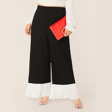 Plus Two Tone Pleated Hem Wide Leg Pants