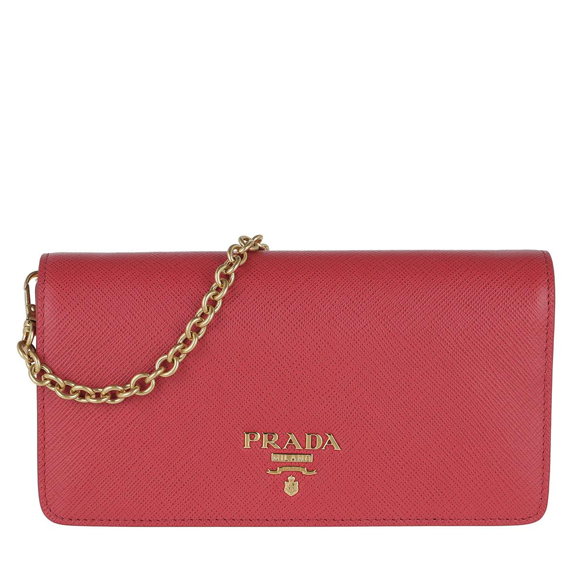 Prada Umhängetasche - Logo Wallet On Chain Saffiano Leather Peonia - in pink - für Damen