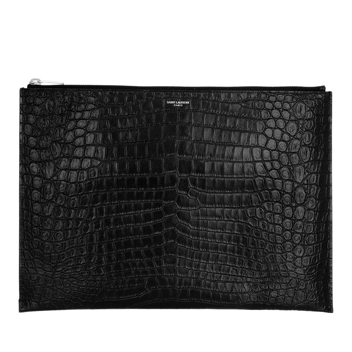 Saint Laurent Clutch - Embossed Crocodile Effect Clutch Black - in schwarz - für Damen