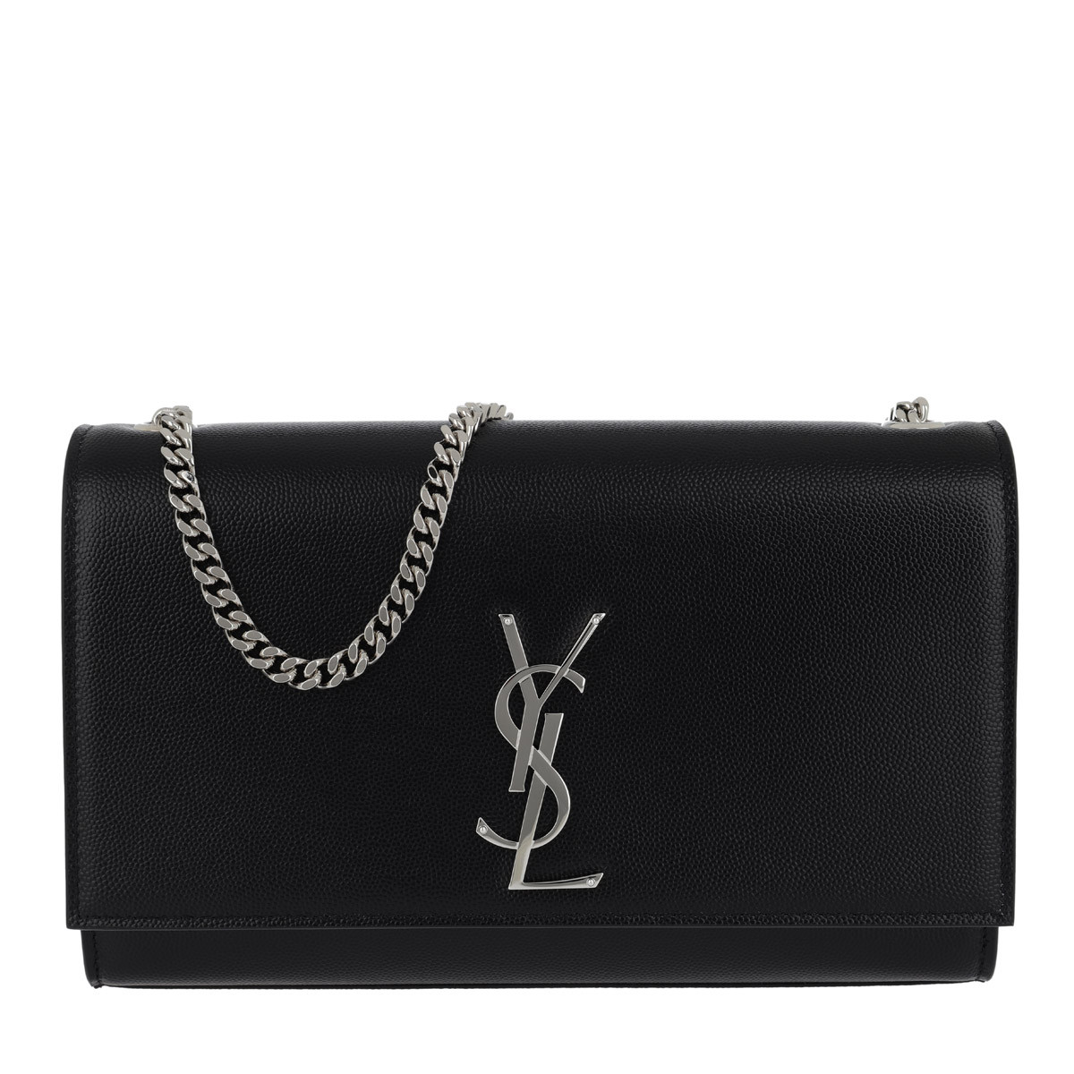 Saint Laurent Umhängetasche - YSL Monogramme Chain Clutch Grain De Poudre Black - in schwarz - für Damen