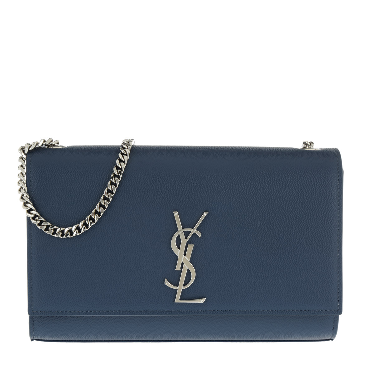 Saint Laurent Umhängetasche - YSL Monogramme Chain Clutch Grain De Poudre Denim - in blau - für Damen