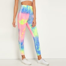 Side Striped Tie Dye Leggings