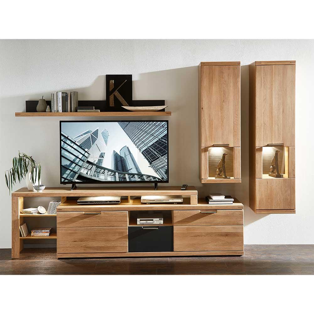 Tv Wohnwand In Eiche Bianco Led Beleuchtung 4 Teilig Online