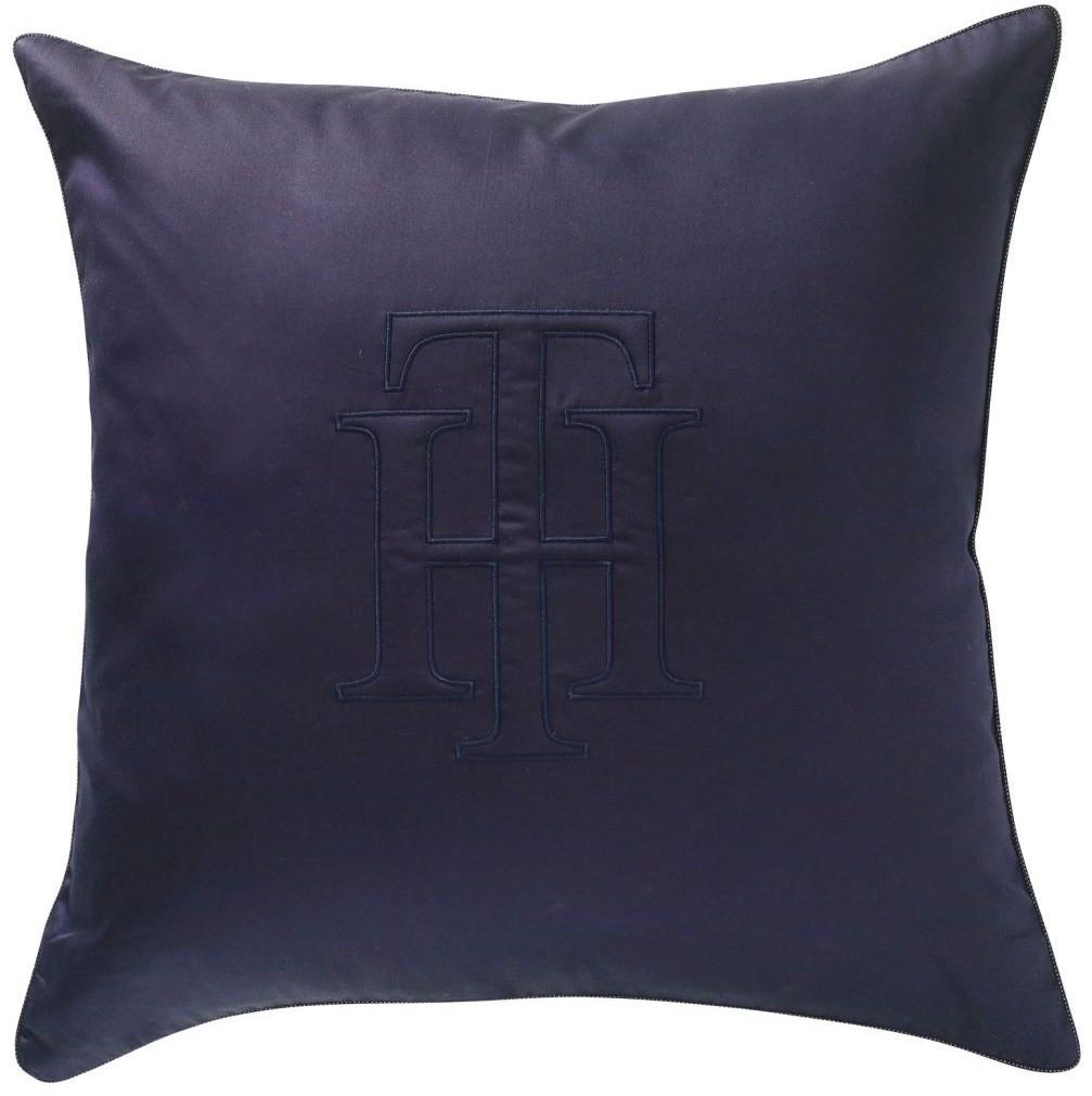 Tommy Hilfiger Uni Satin TH Logo Deko-Kissen mit Füllung