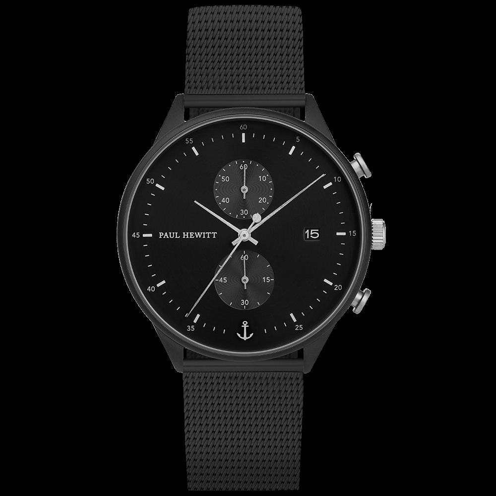 Uhr Chrono Line Black Sunray IP Schwarz/Edelstahl Meshband IP Schwarz