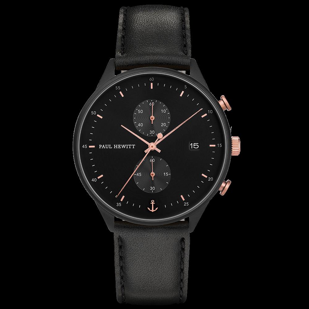 Uhr Chrono Line Black Sunray IP Schwarz/Roségold Lederarmband Schwarz