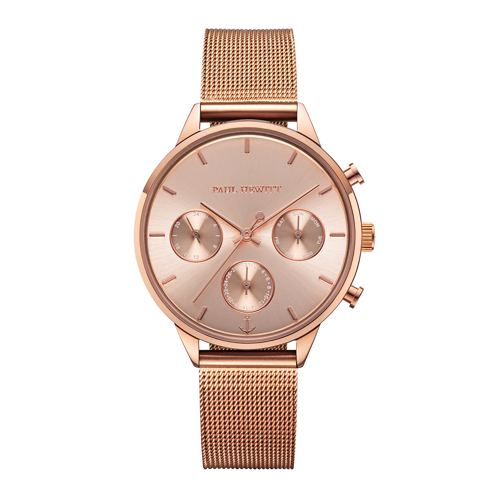Uhr Everpulse Line Rose Sunray IP Roségold Meshband IP Roségold