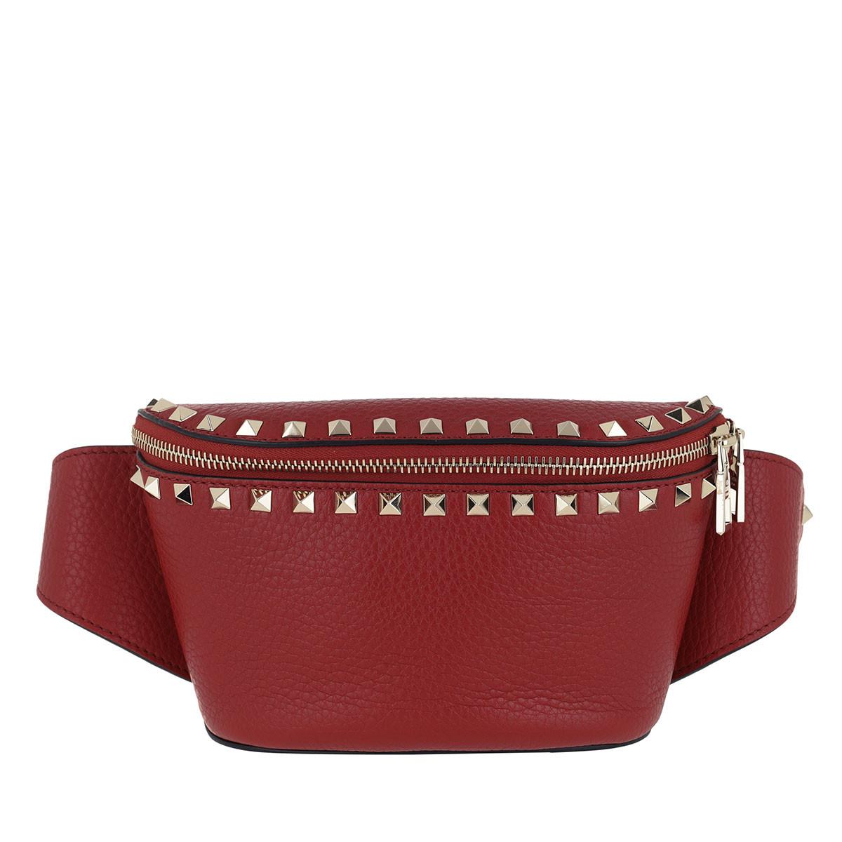 Valentino Gürteltasche - Rockstud Belt Bag Calf Leather Red - in rot - für Damen