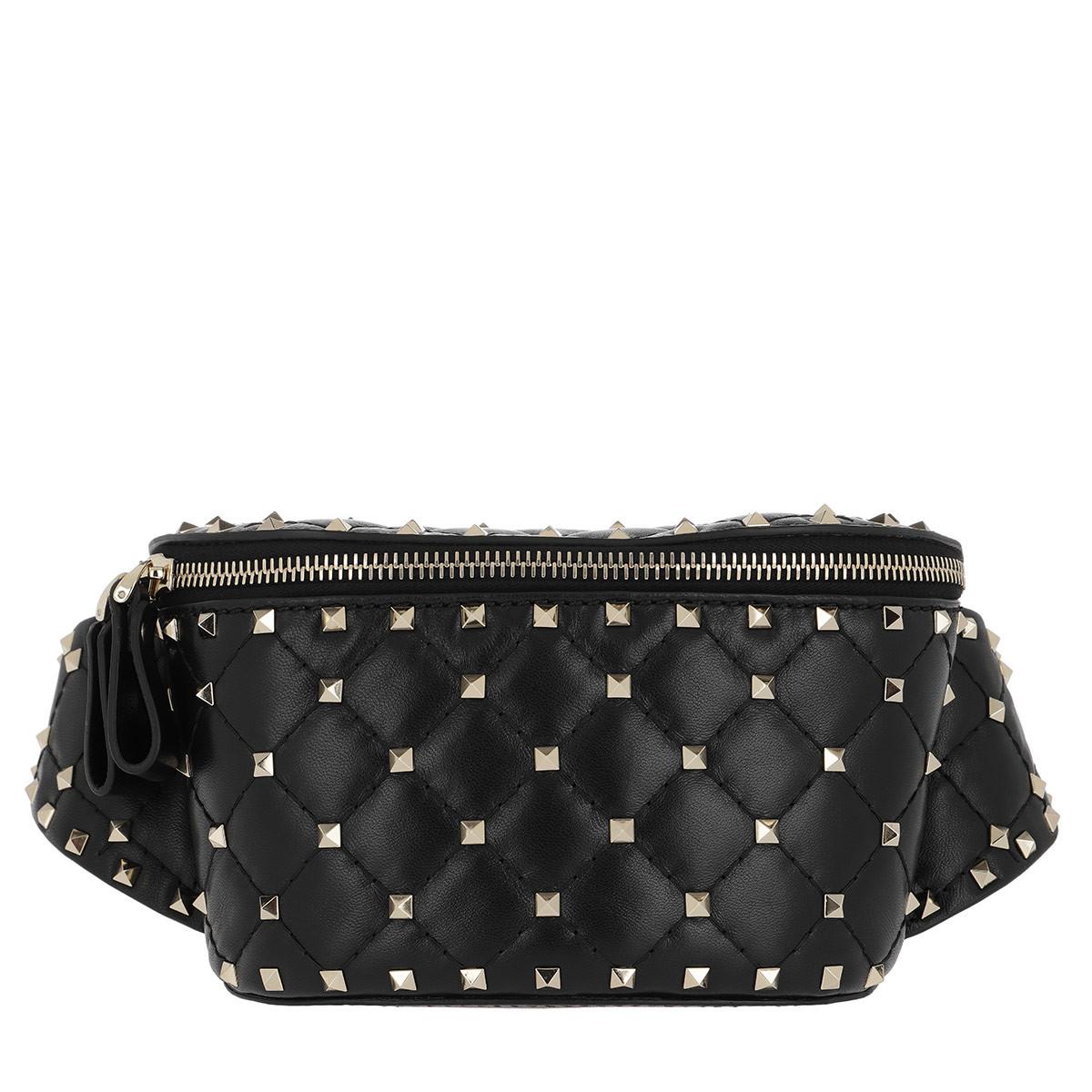 Valentino Gürteltasche - Rockstud Spike Small Nappa Belt Bag Black - in schwarz - für Damen
