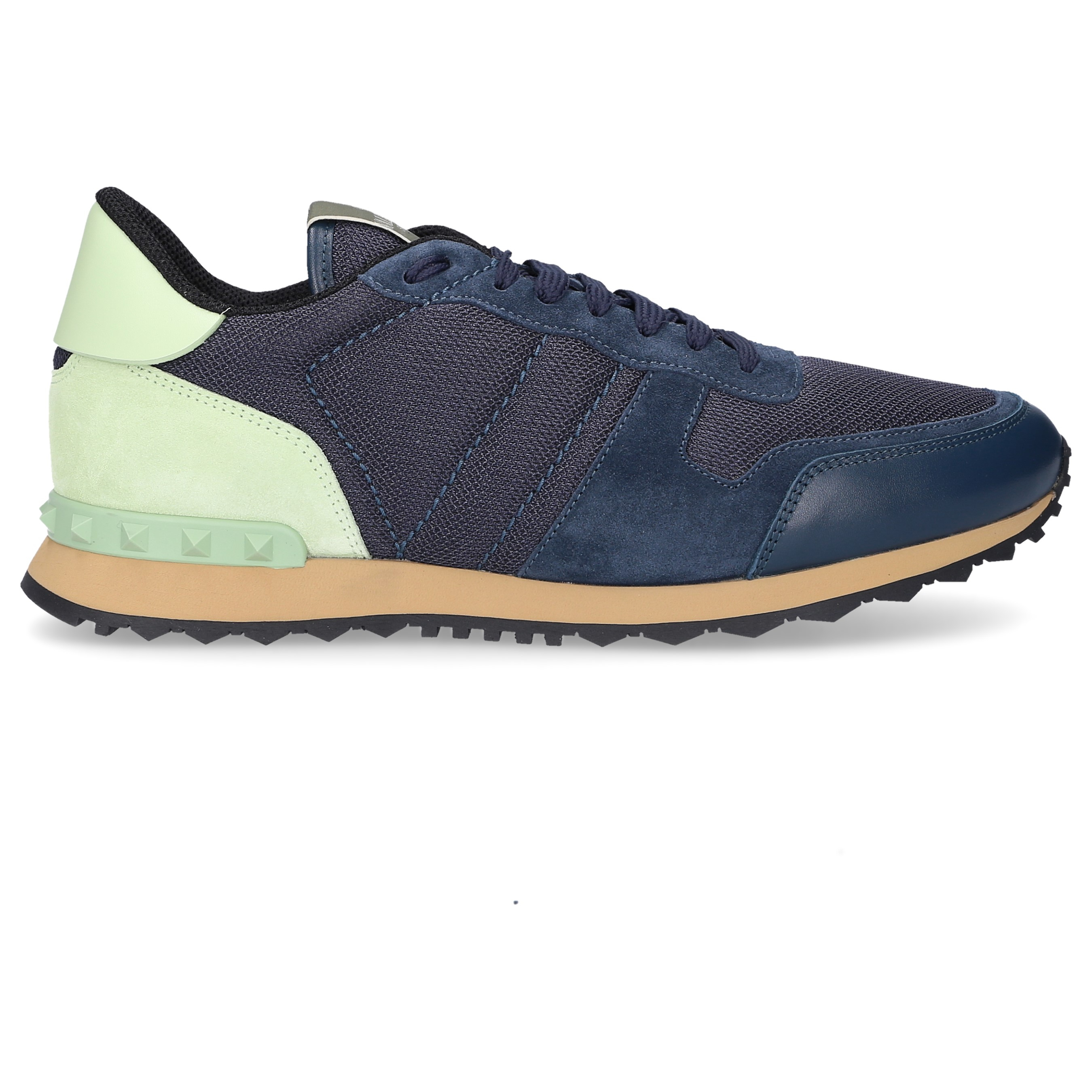 Valentino Sneaker low S0723 Kalbsleder Mesh Veloursleder Logo blau grün