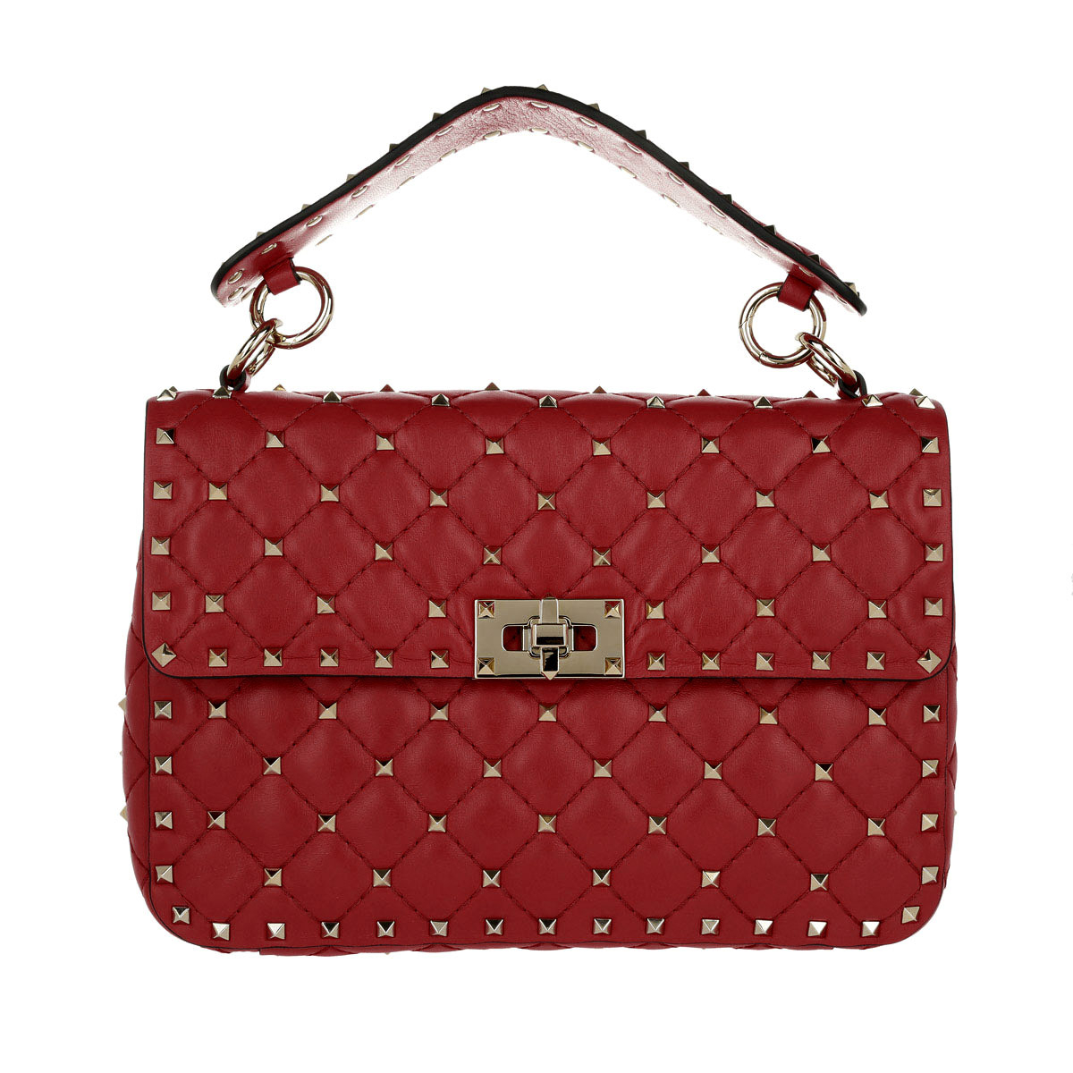 Valentino Umhängetasche - Rockstud Spike Medium Clutch Lambskin Red - in rot - für Damen