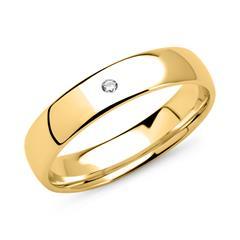 14K Goldring für Damen mit Diamant, gravierbar