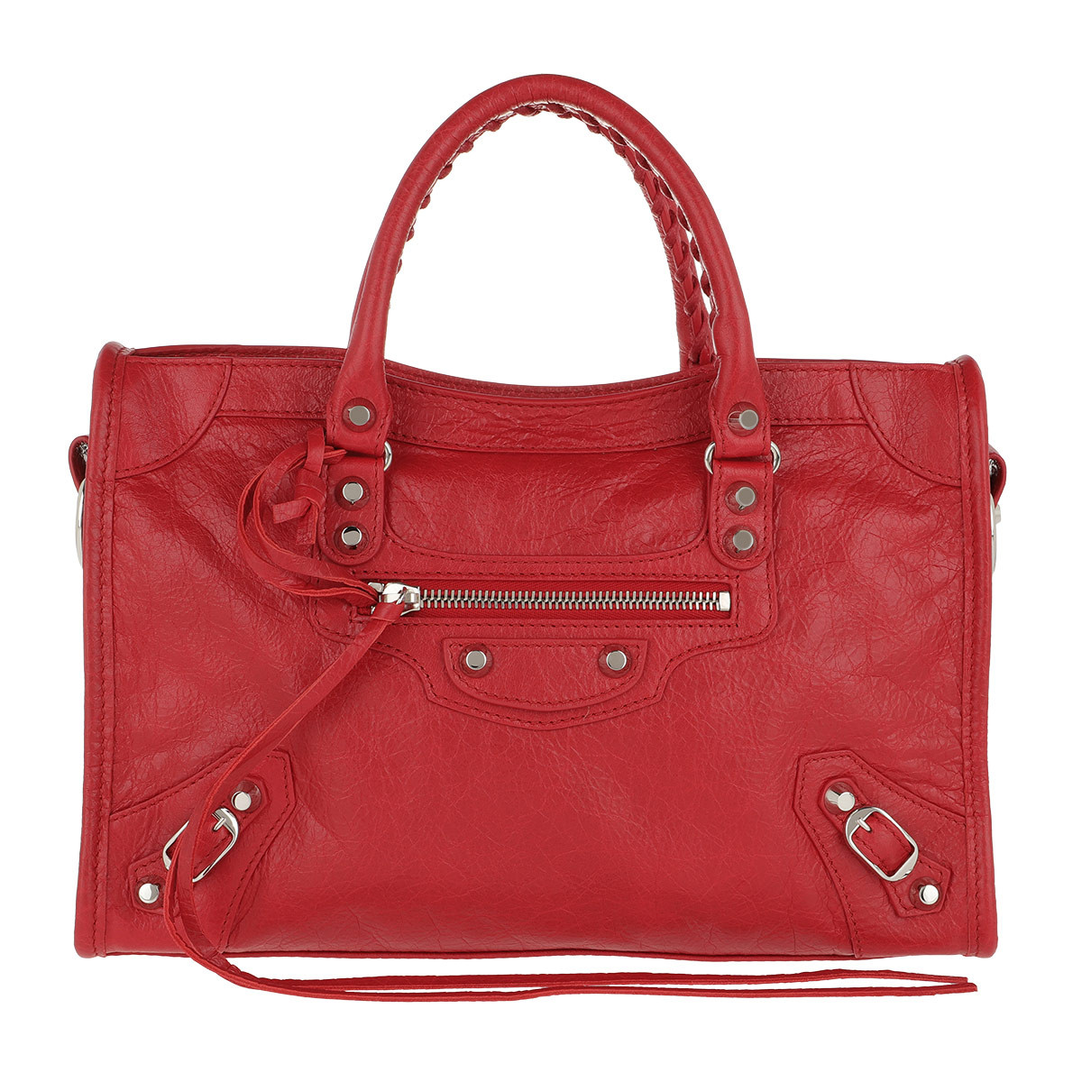 Balenciaga Tote - City Tote Tassel Studded Leather Red - in rot - für Damen