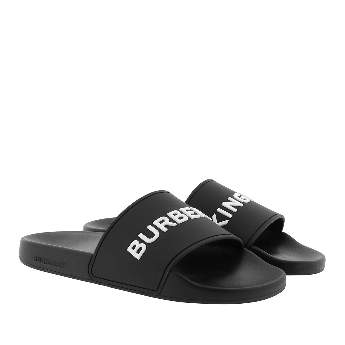 Burberry Schuhe - Furley Slides Kingdom Print Black - in schwarz - für Damen