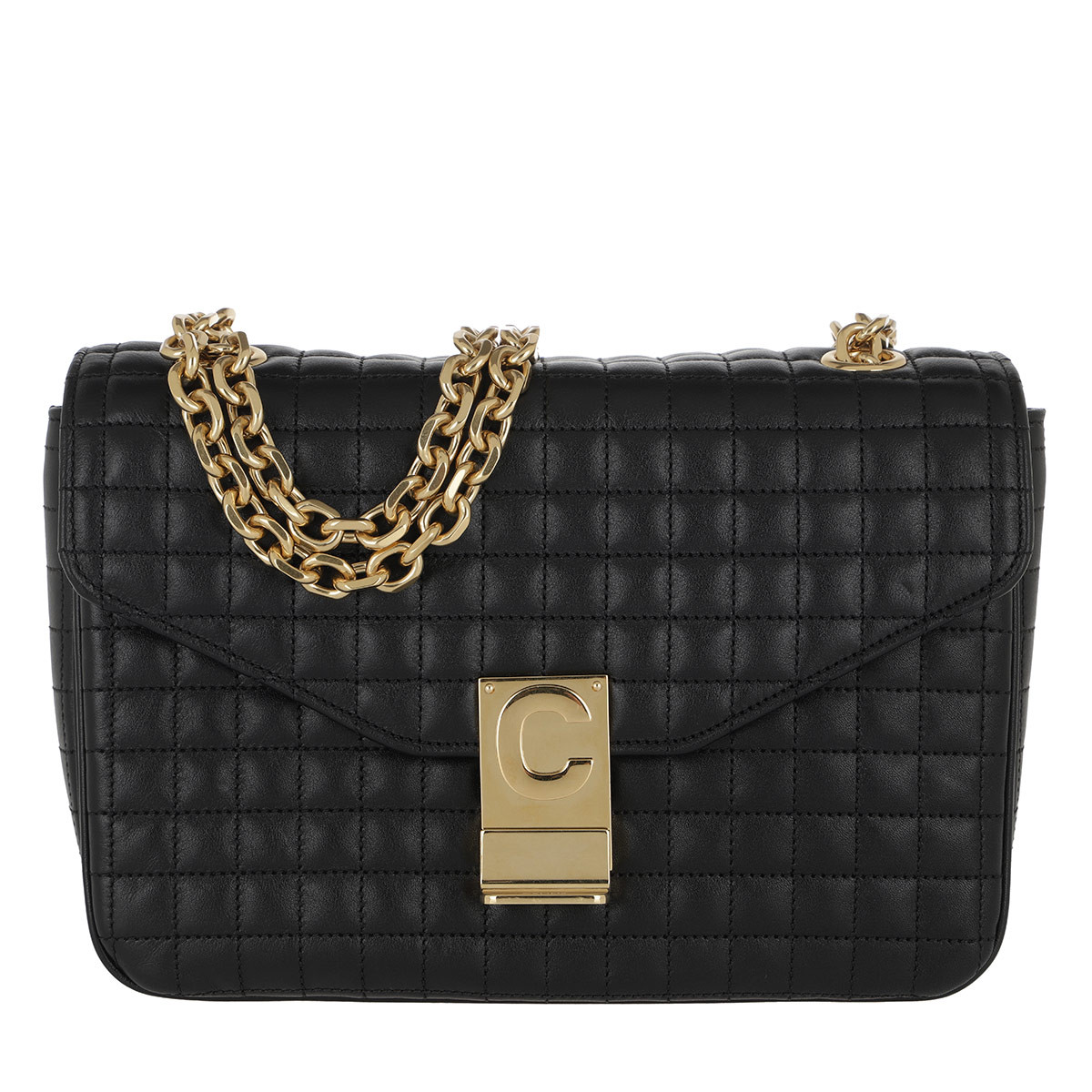 Celine Umhängetasche - C Bag Medium Quilted Calfskin Black - in schwarz - für Damen