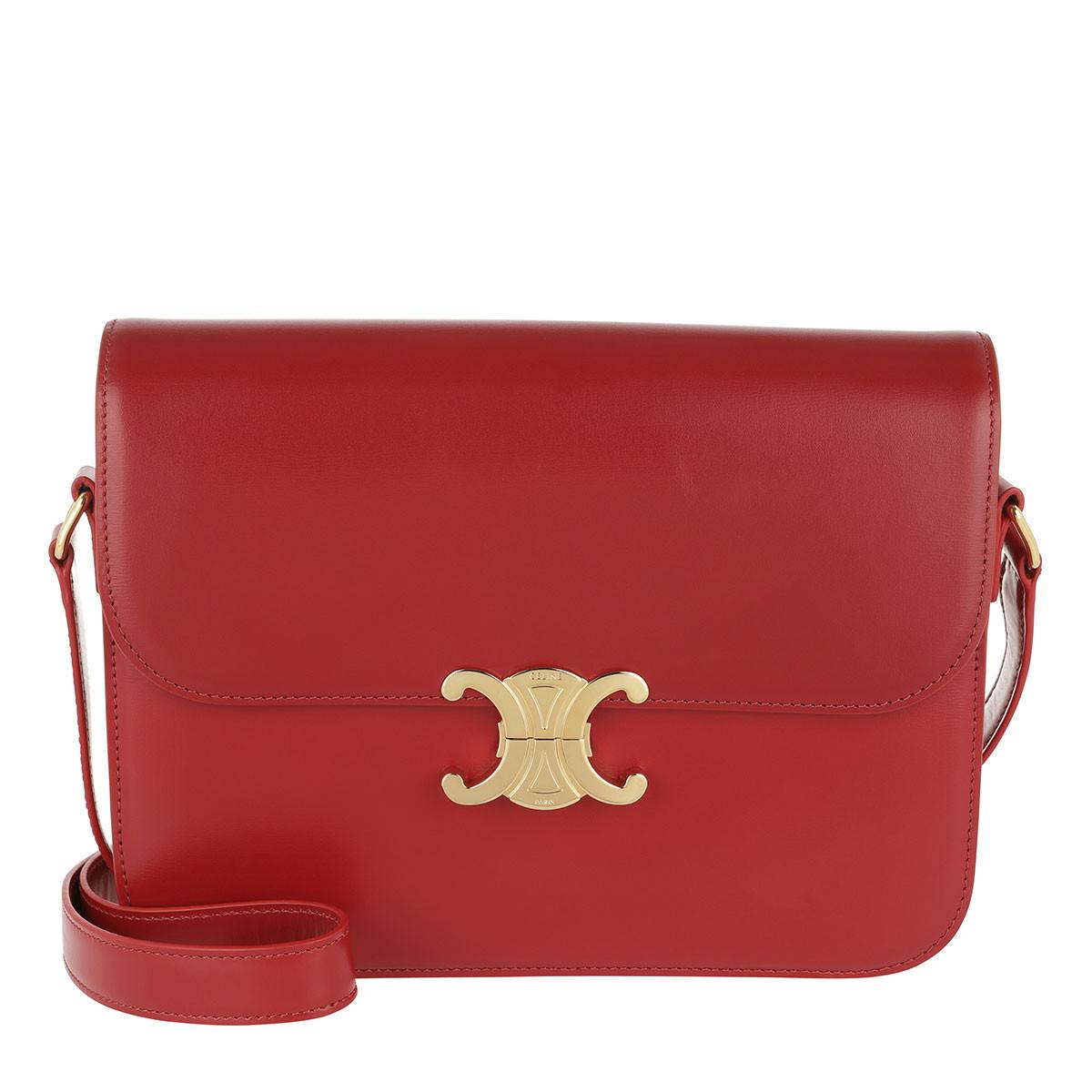 Celine Umhängetasche - Triomphe Bag Large Leather Red - in rot - für Damen