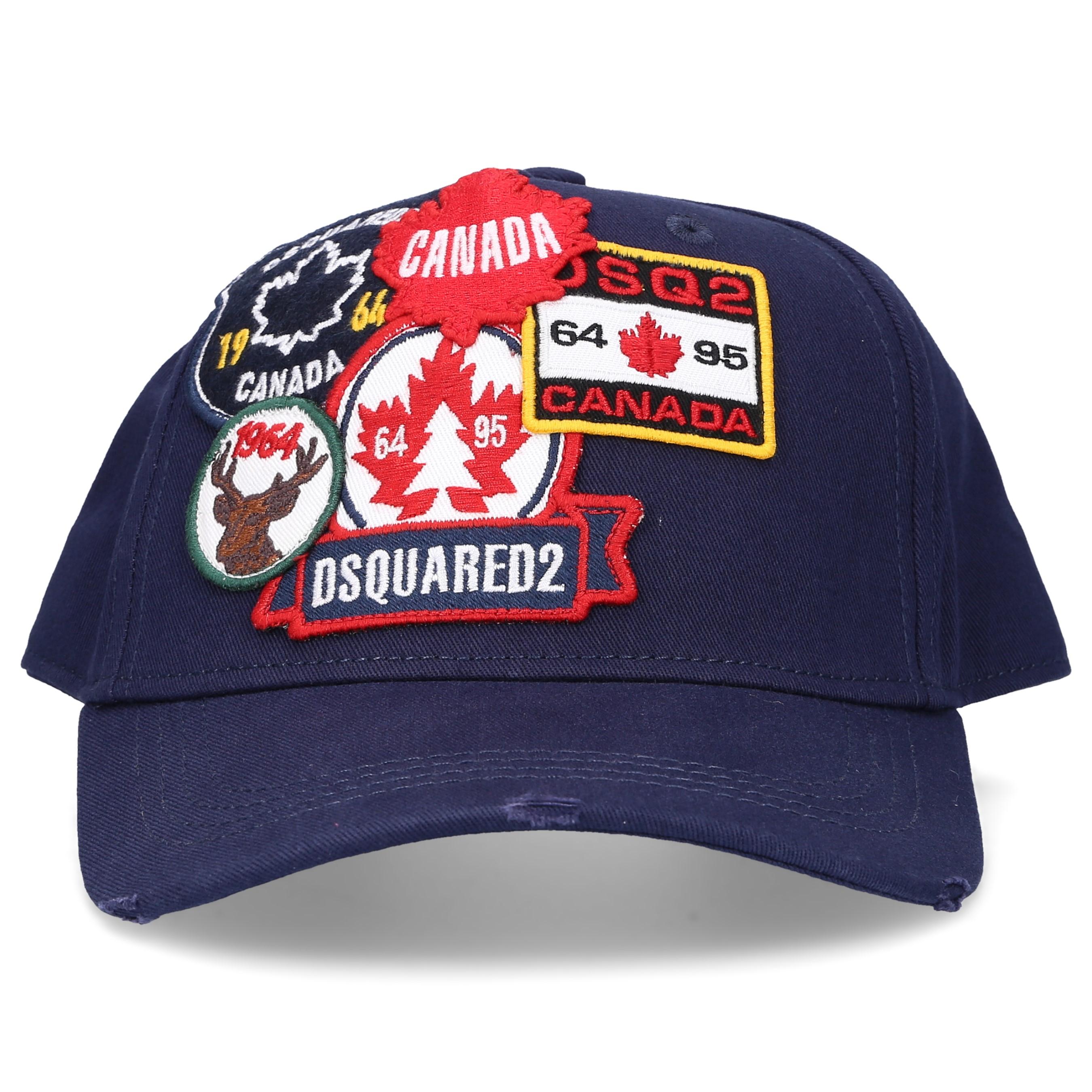 Dsquared2 Snapback Cap PATCH CARGO Gabardine Logo Stickerei blau