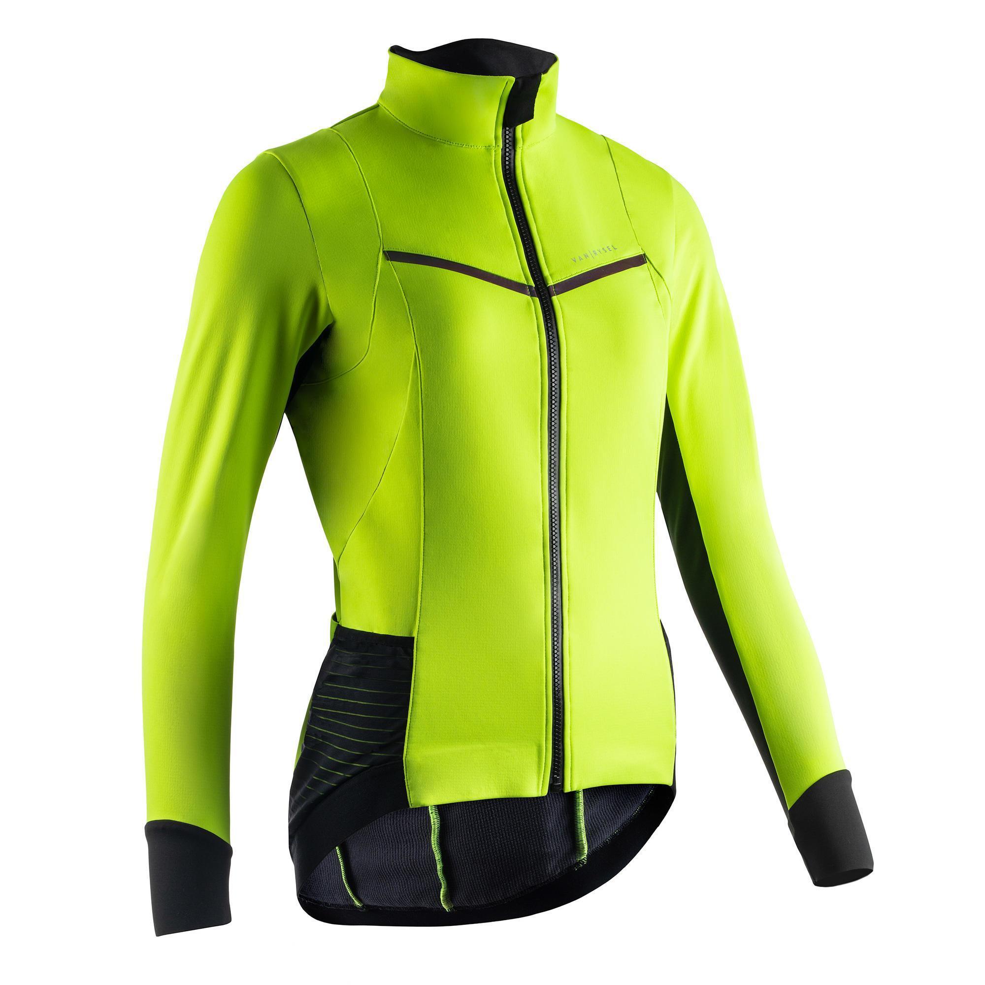 Fahrrad Winterjacke Rennrad RR 900 Damen neongelb