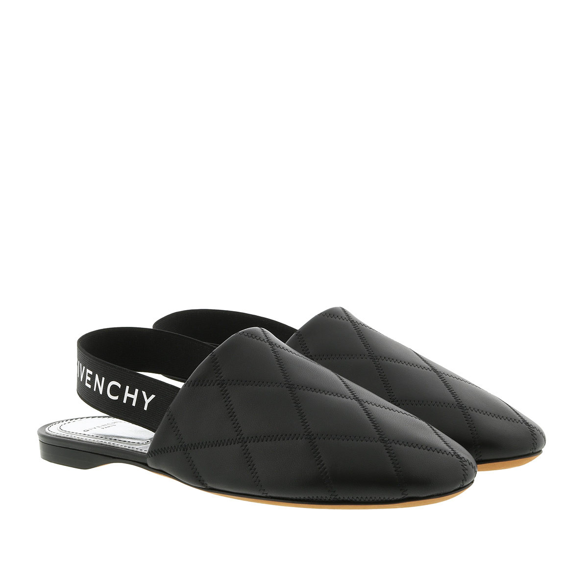 Givenchy Schuhe - Sling Back Flat Mules Quilted Leather Black - in schwarz - für Damen
