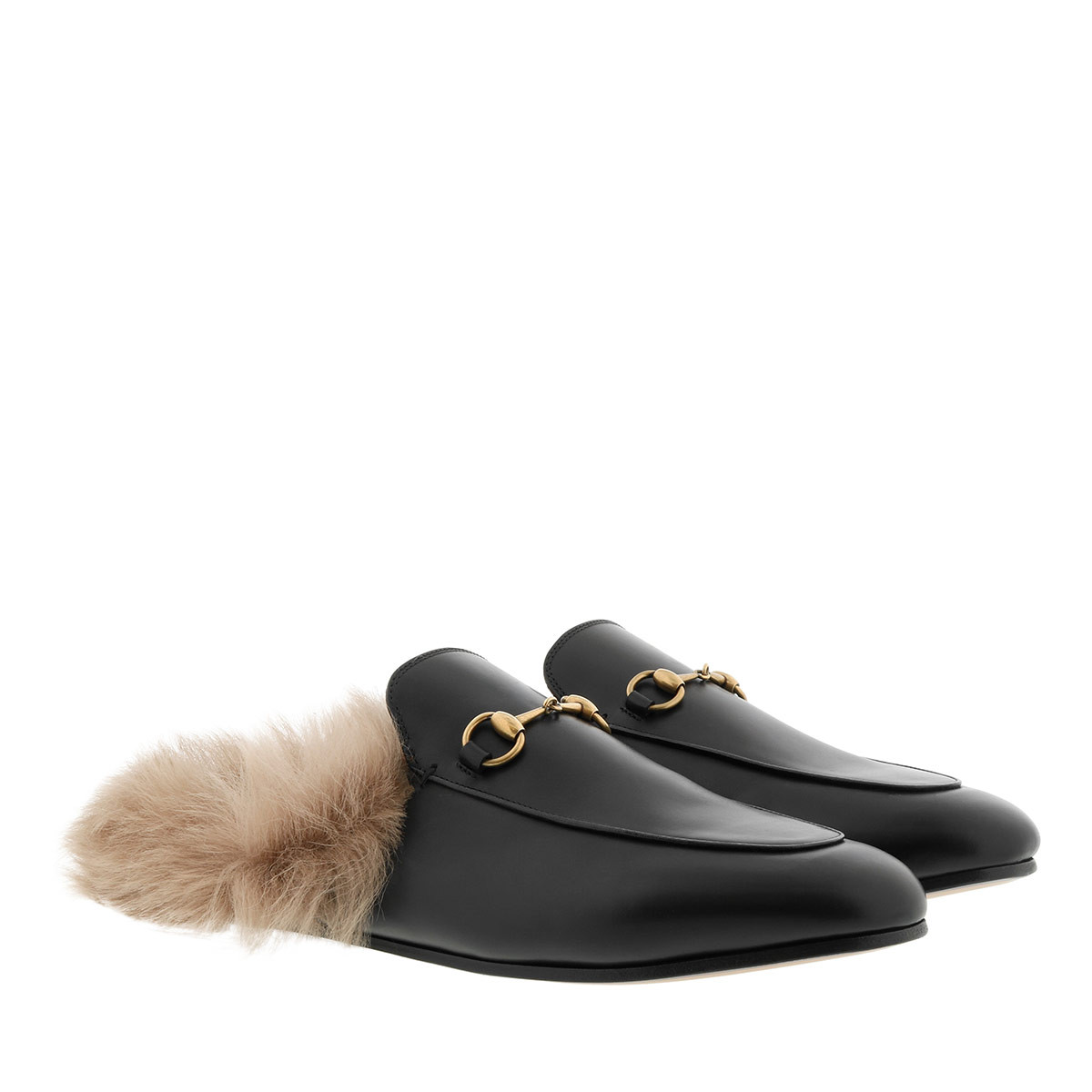 Gucci Schuhe - Princetown Slipper Horsebit Detail Leather Black - in schwarz - für Damen