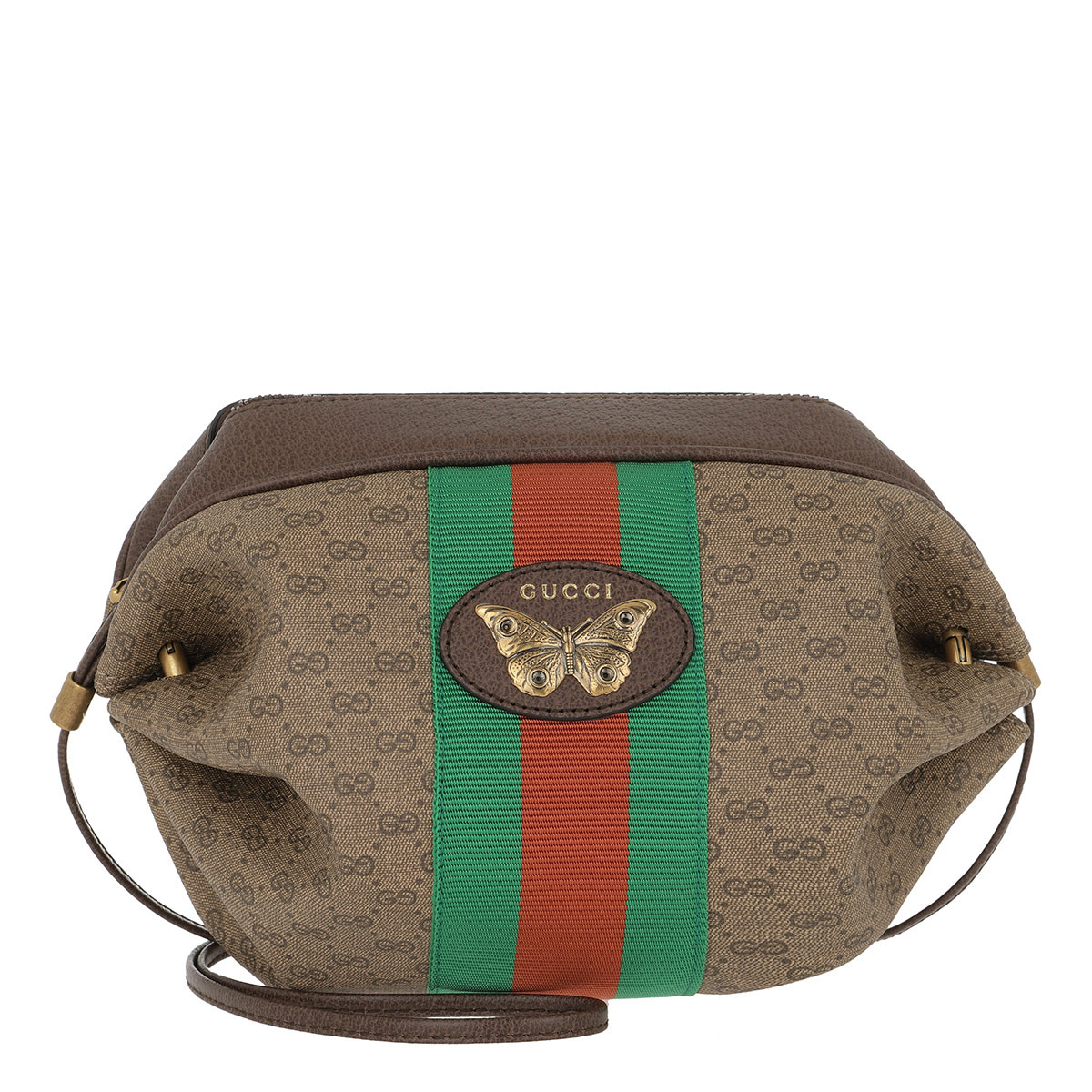 Gucci Umhängetasche - GG Mini Bag Web Butterfly Beige/Ebony - in beige - für Damen