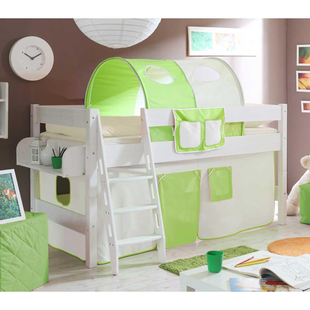 Kind Hochbett in Grün und Beige Tunnel und Vorhang