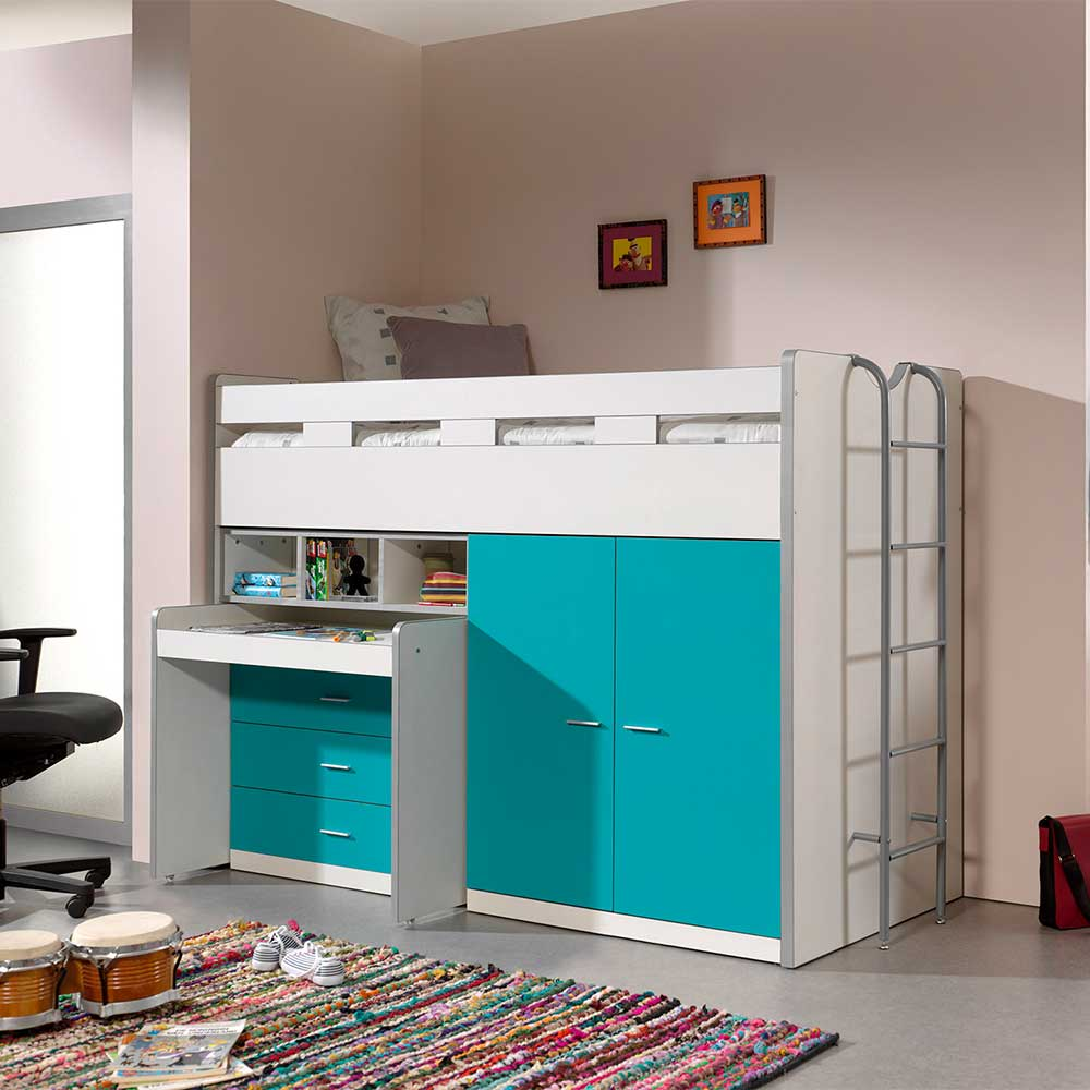 Kinder Hochbett in Türkis un Weiß Schreibtisch und Schrank