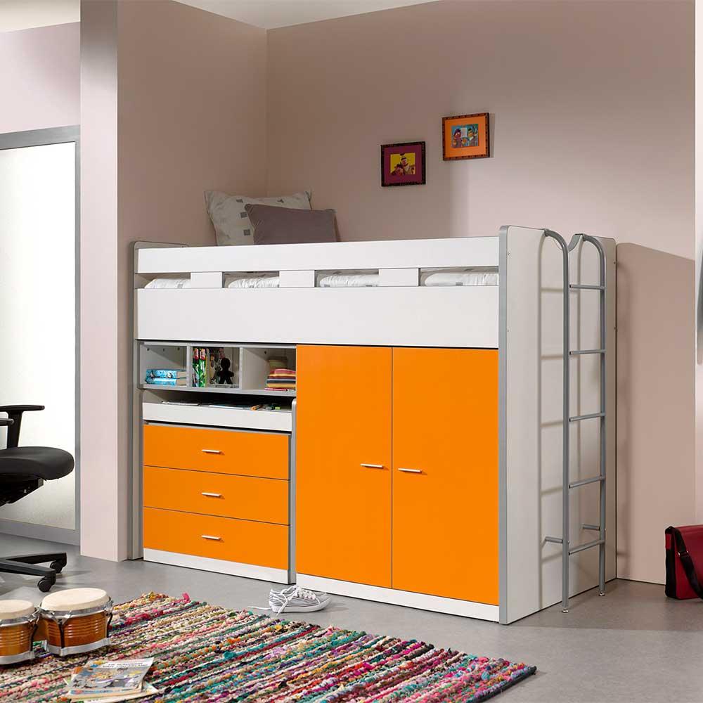 Kinderzimmer Hochbett in Orange und Weiß Schreibtisch