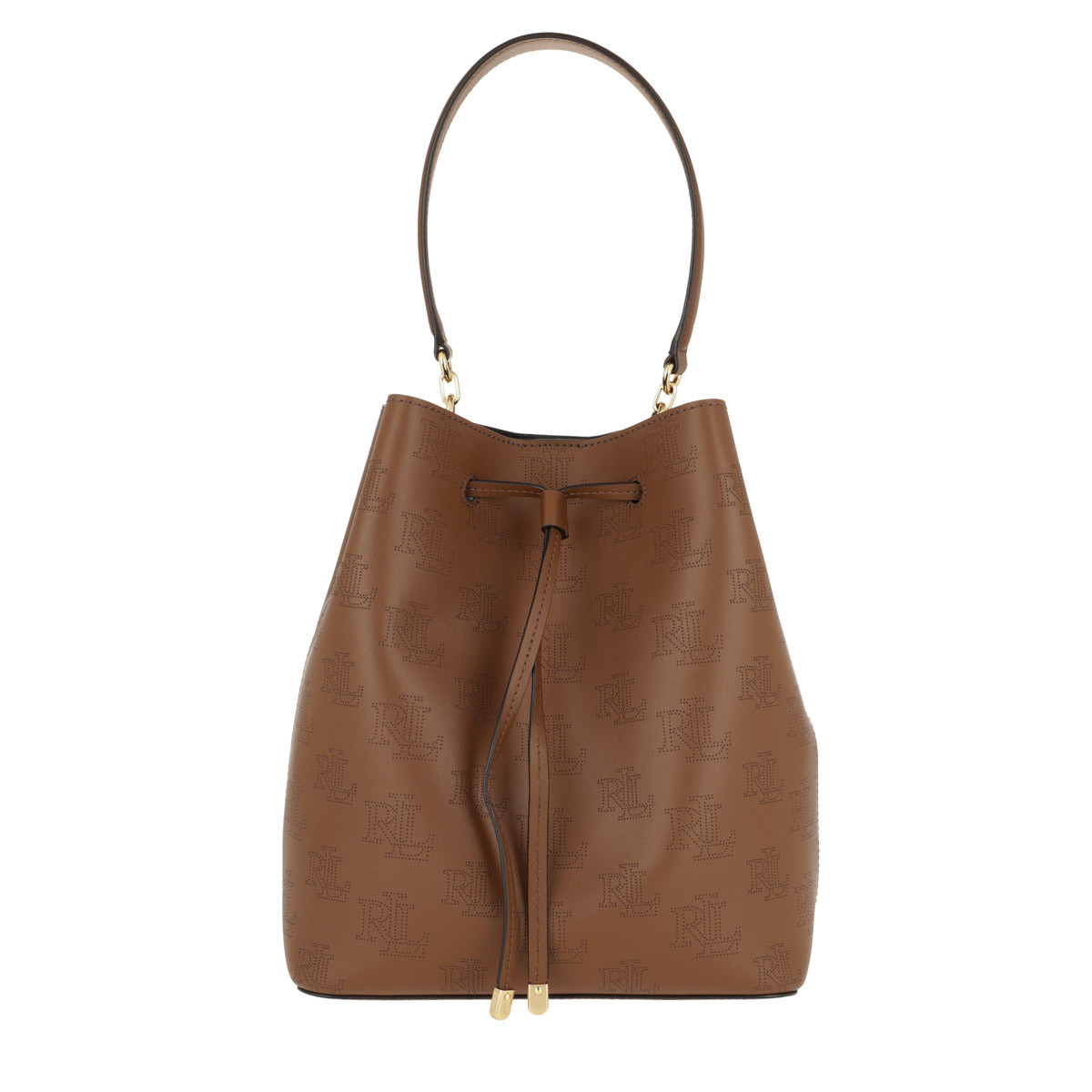 Lauren Ralph Lauren Beuteltasche - Debby Drawstring Medium Field Brown Black - in cognac - für Damen