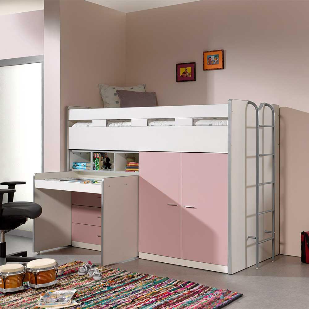 Mädchen Hochbett mit Schrank und Schreibtisch Rosa und Weiß
