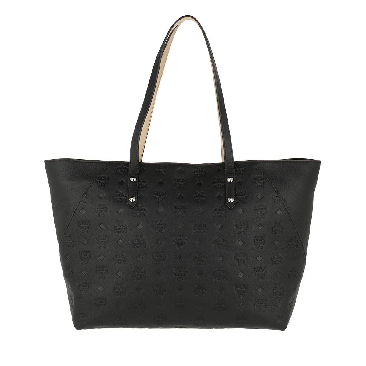 MCM Shopper - Klara Monogrammed Leather Shopper Medium Black - in schwarz - für Damen