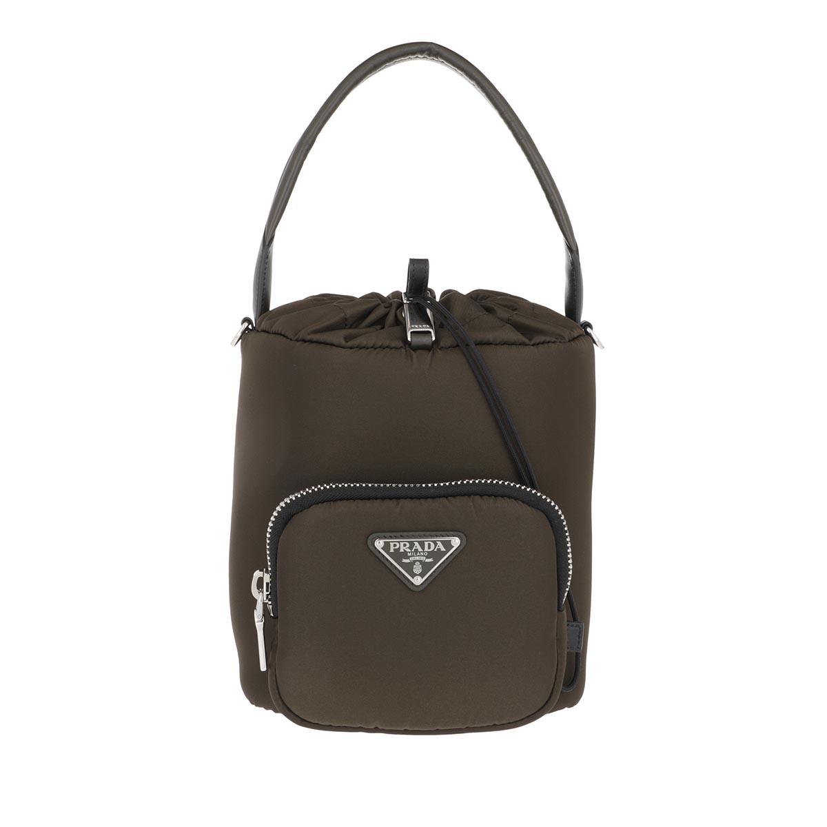 Prada Beuteltasche - Bucket Bag Nylon Mimetico Nero - in grün - für Damen