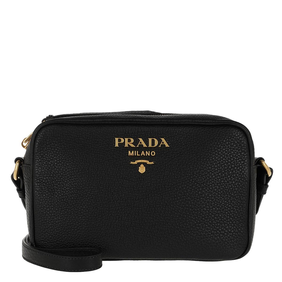 Prada Umhängetasche - Logo Crossbody Bag Calf Leather Black - in schwarz - für Damen