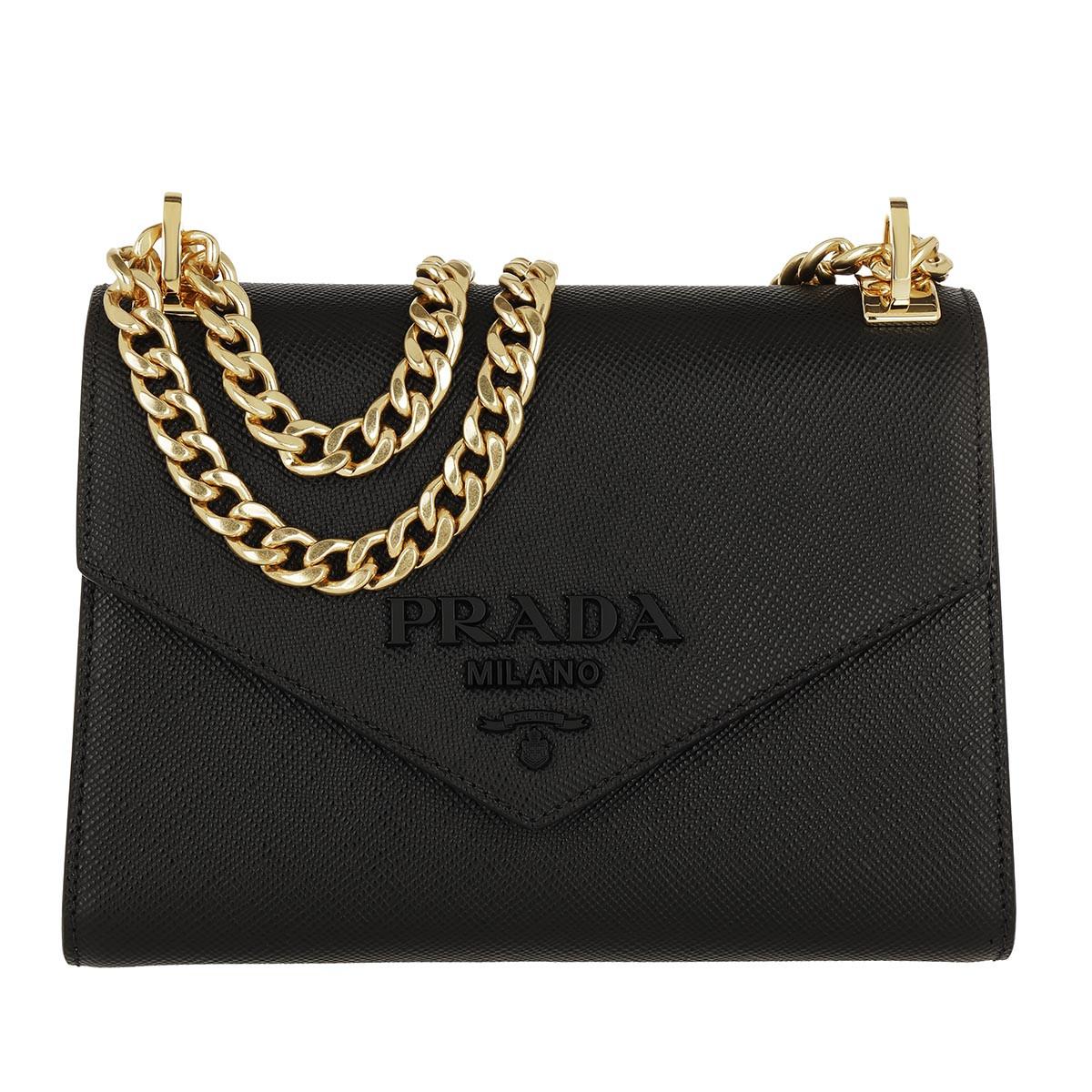 Prada Umhängetasche - Monochrome Crossbody Bag Quartz Medium Black - in schwarz - für Damen