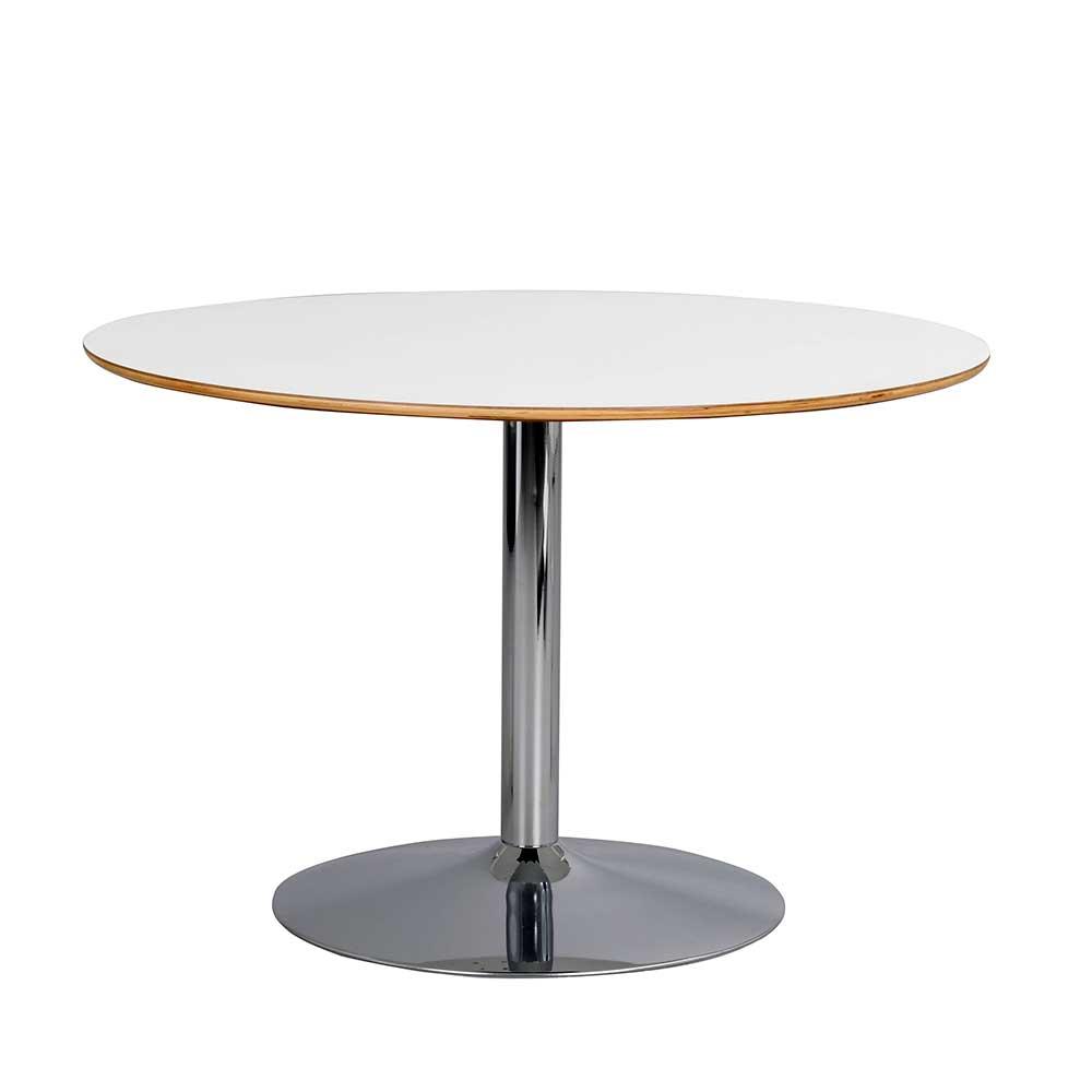 Runder Esstisch in Weiß und Chrom 115 cm