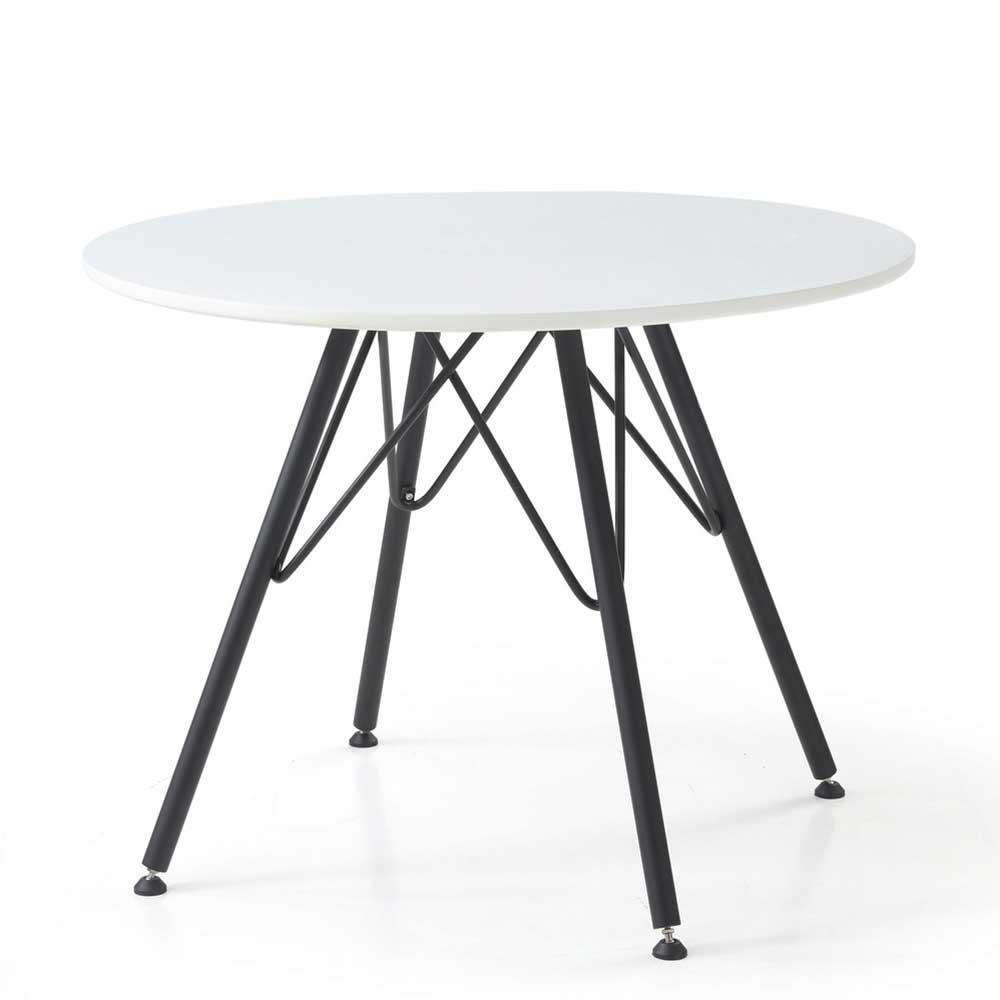 Runder Esstisch in Weiß und Schwarz Retrostil