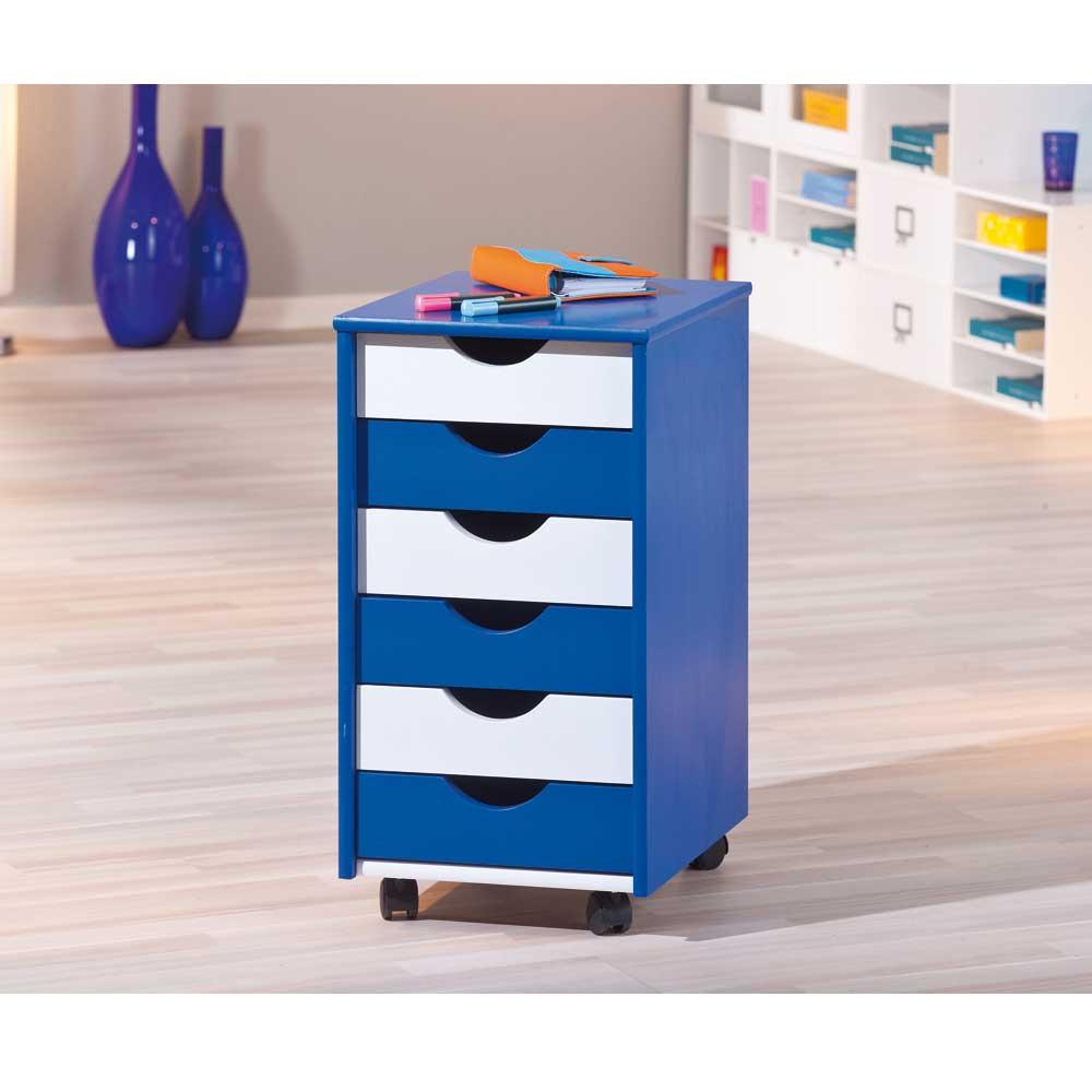 Schreibtischcontainer in Blau-Weiß Weiß