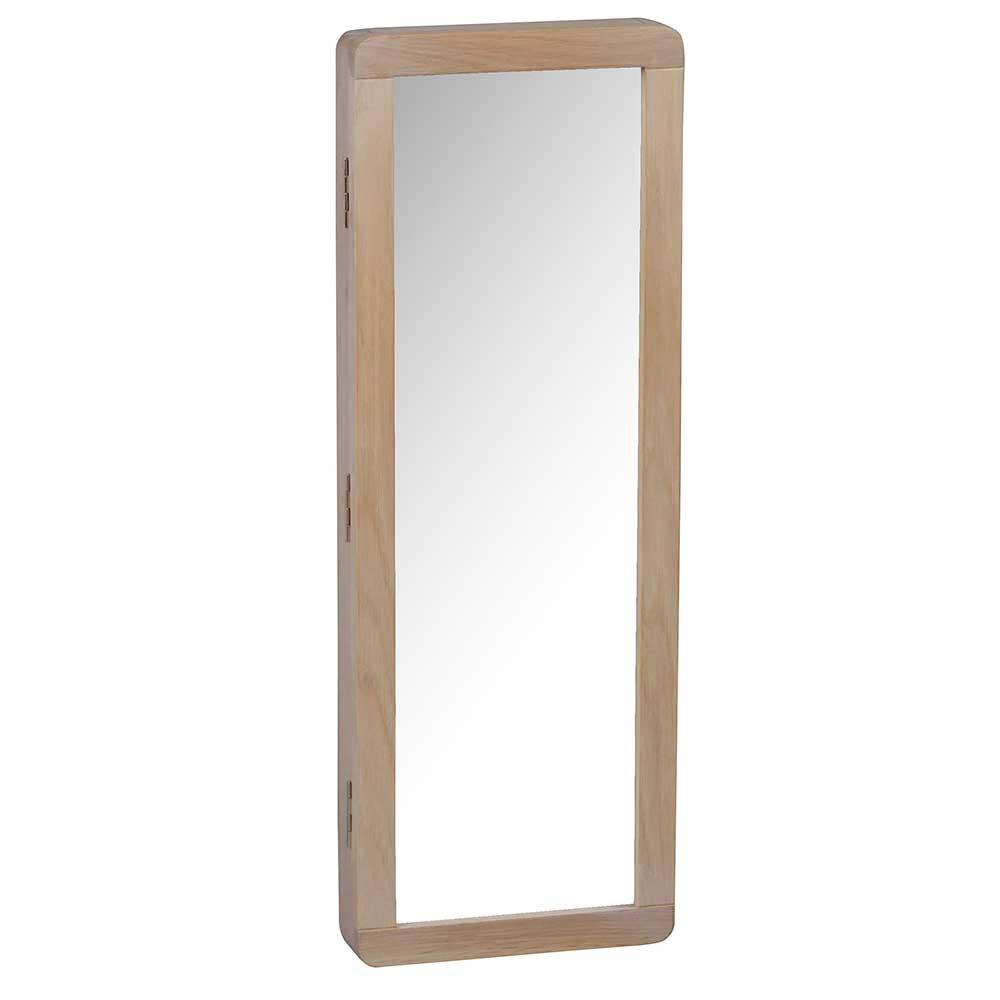 Spiegel Schlüsselkasten aus Eiche White Wash massiv 25 cm breit
