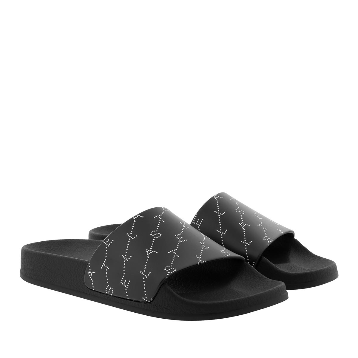 Stella McCartney Sandalen - Monogram Strap Slides Black/White - in schwarz - für Damen