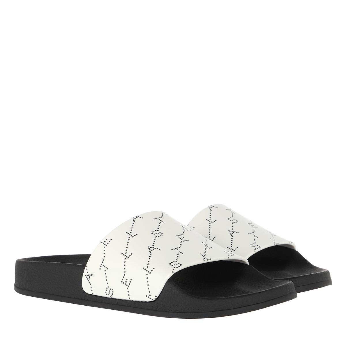 Stella McCartney Schuhe - Monogram Strap Slides White/Black - in weiß - für Damen