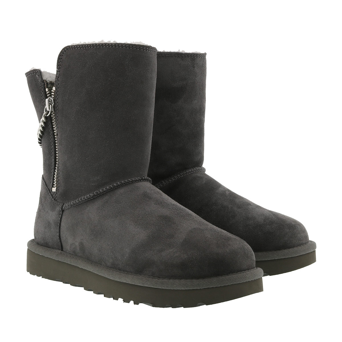 UGG Boots - W Classic Short Sparkle Zip Charcoal - in grau - für Damen