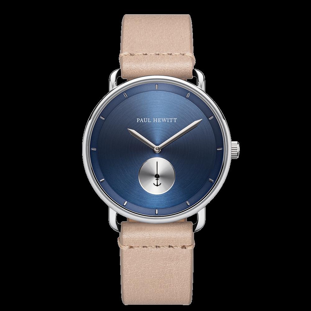 Uhr Breakwater Navy Sunray Silber Leder Sandstone