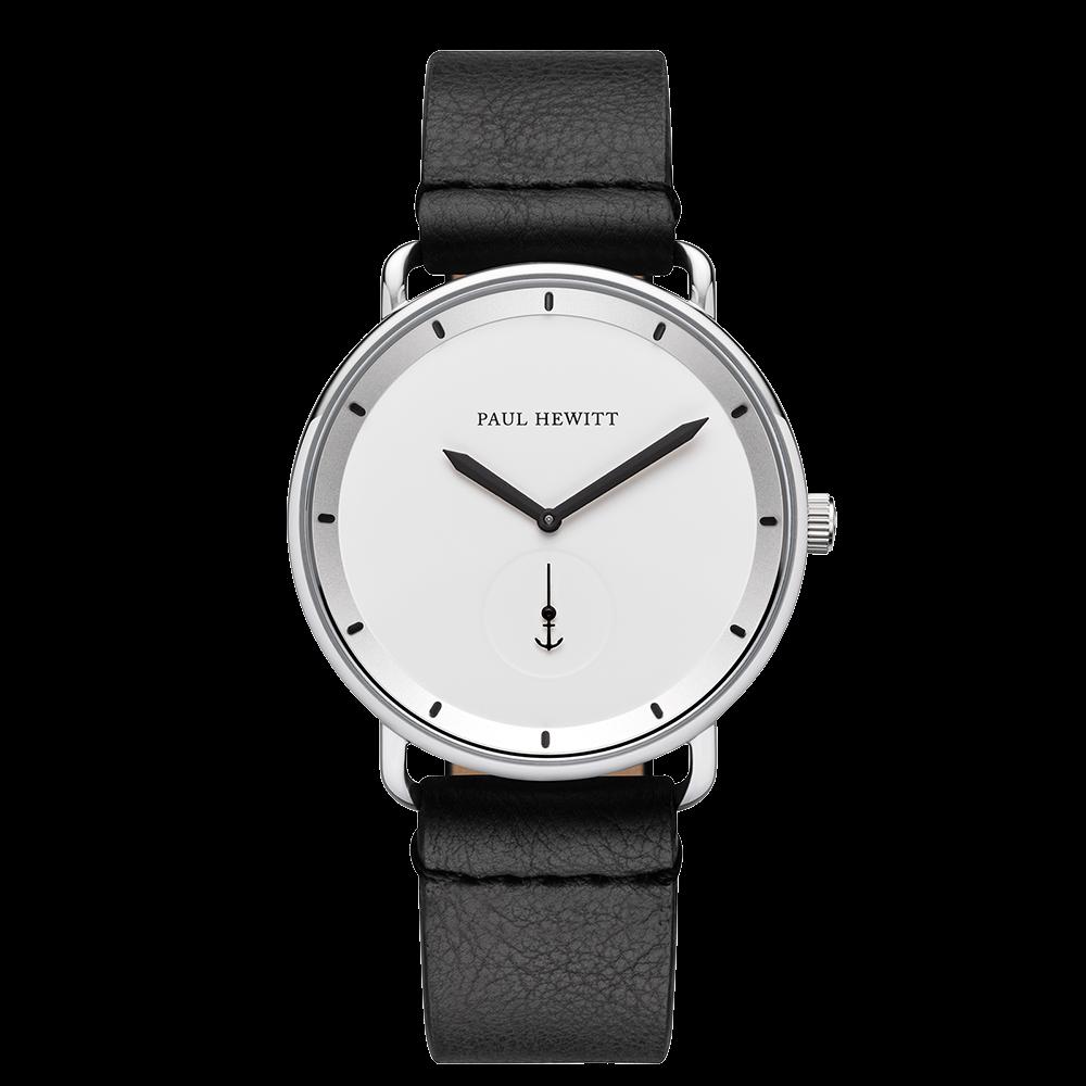 Uhr Breakwater White Sand Silber Leder Pure Black
