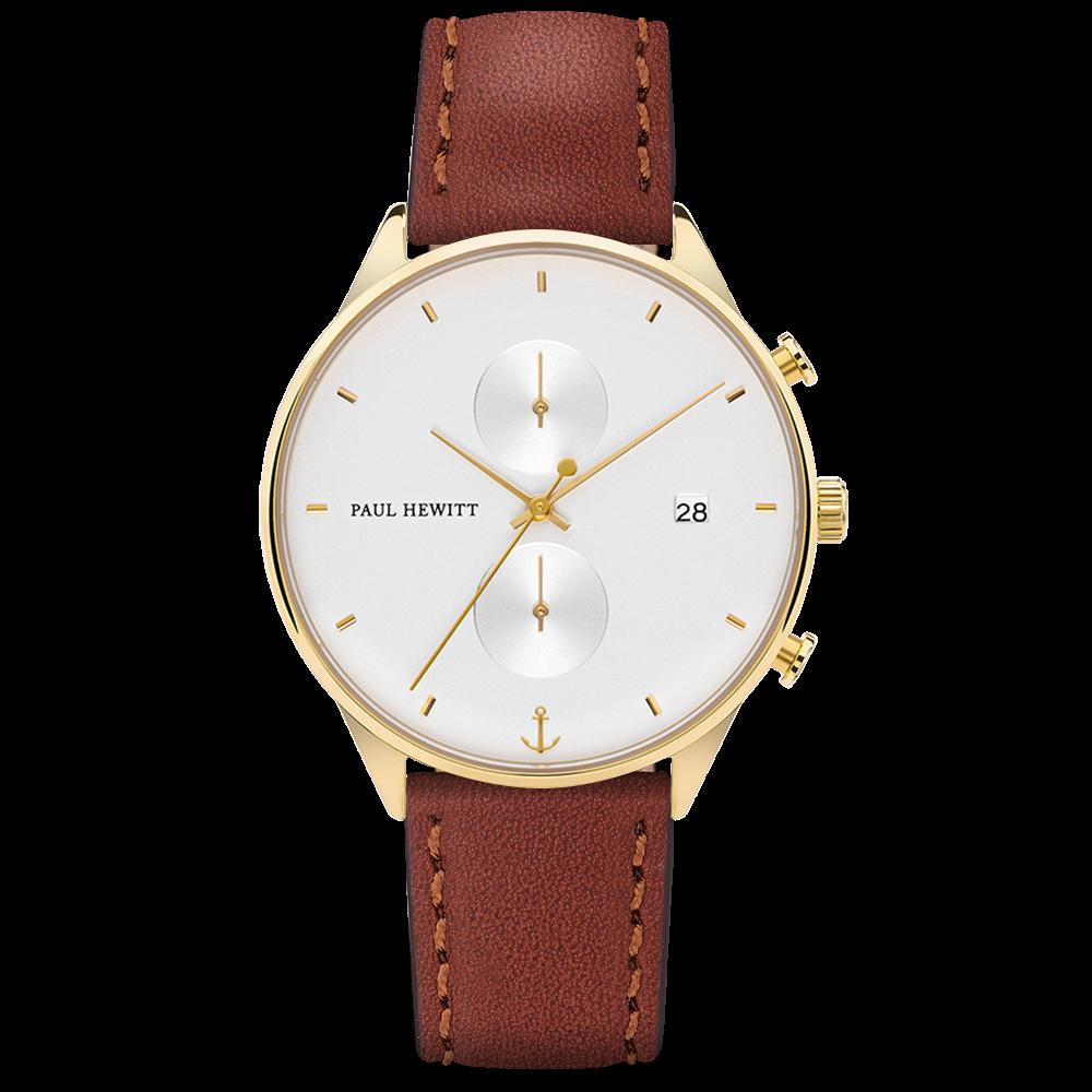 Uhr Chrono White Sand Gold Leder Braun