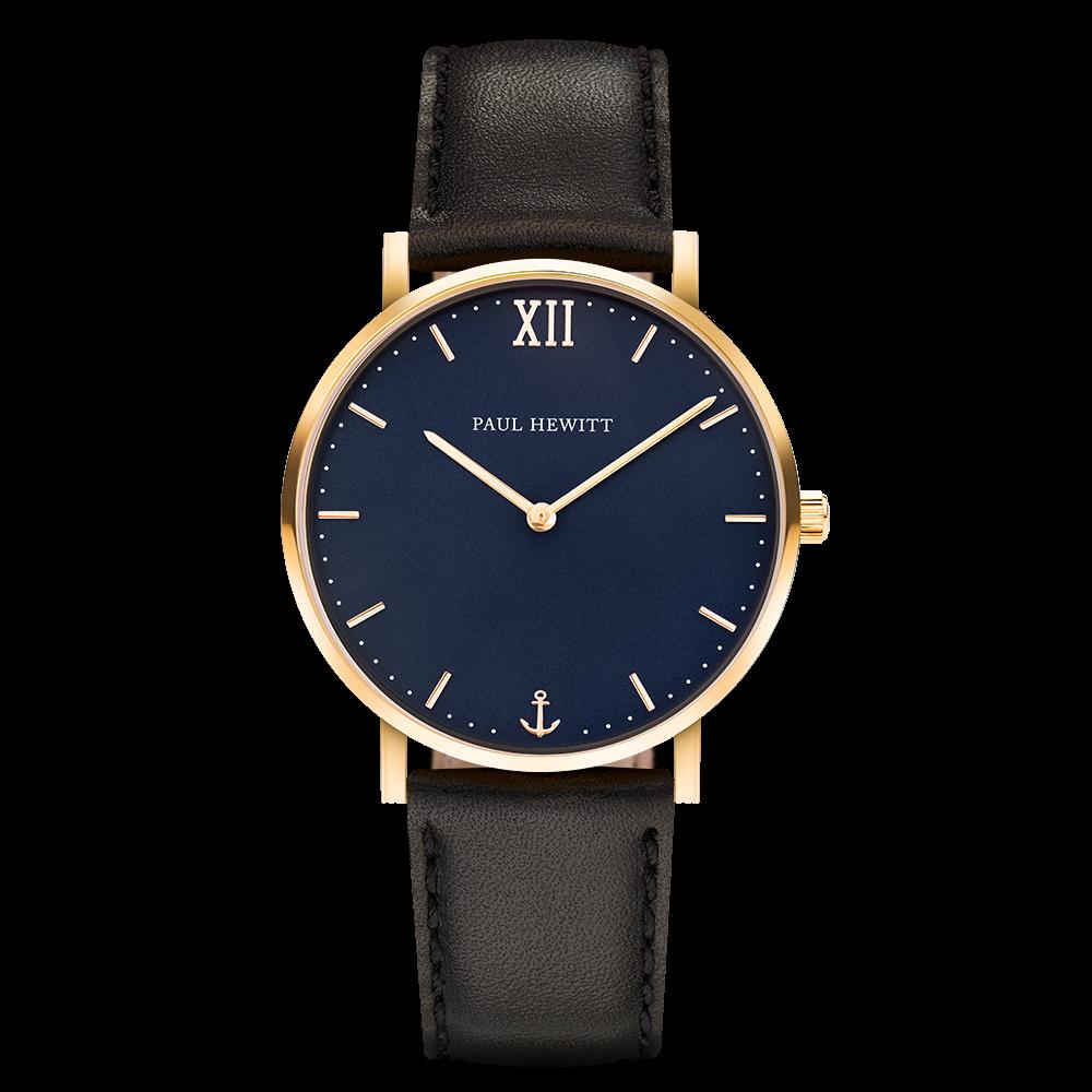 Uhr Sailor Blue Lagoon Gold Leder Schwarz