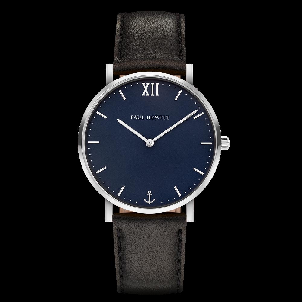Uhr Sailor Blue Lagoon Silber Leder Schwarz