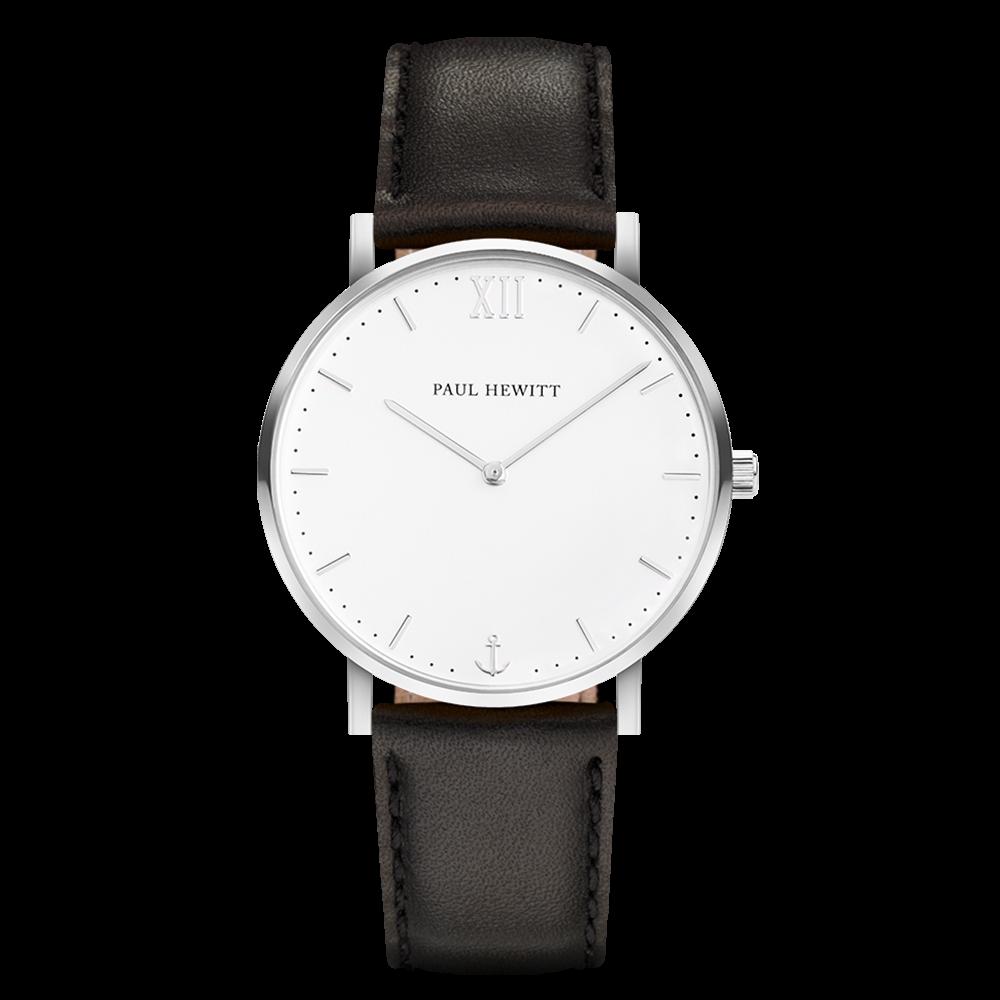 Uhr Sailor White Sand Silber Leder Schwarz